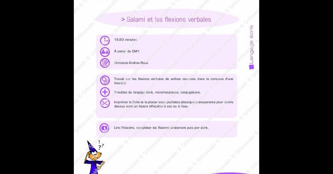 Salami Et Les Flexions Verbales Orthomalin